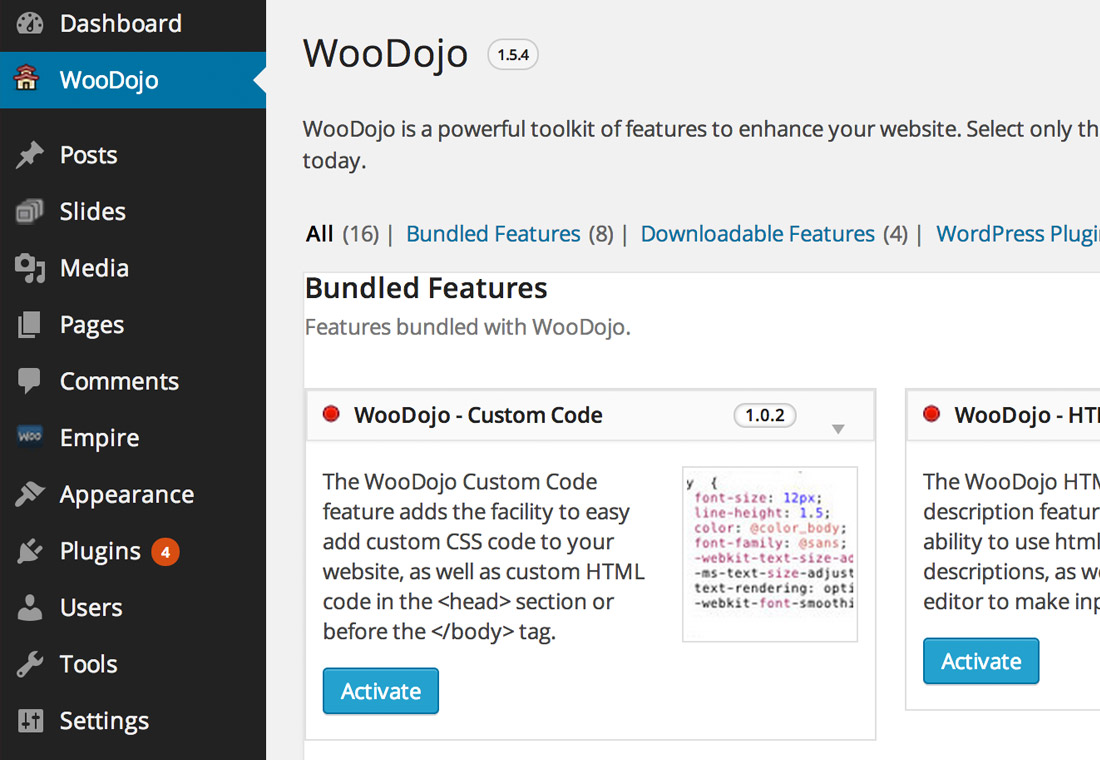 WooDojo - extend WordPress with these WooThemes modules