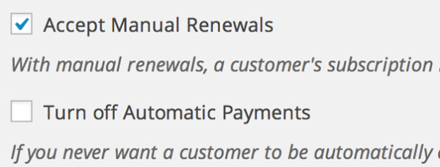 Manual or Automatic Renewals