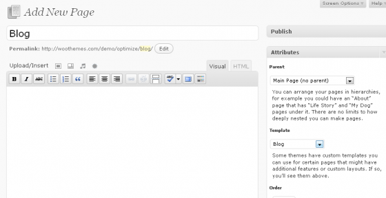 Add blog page template