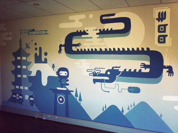 Woohq office murals woothemes for Corporate mural
