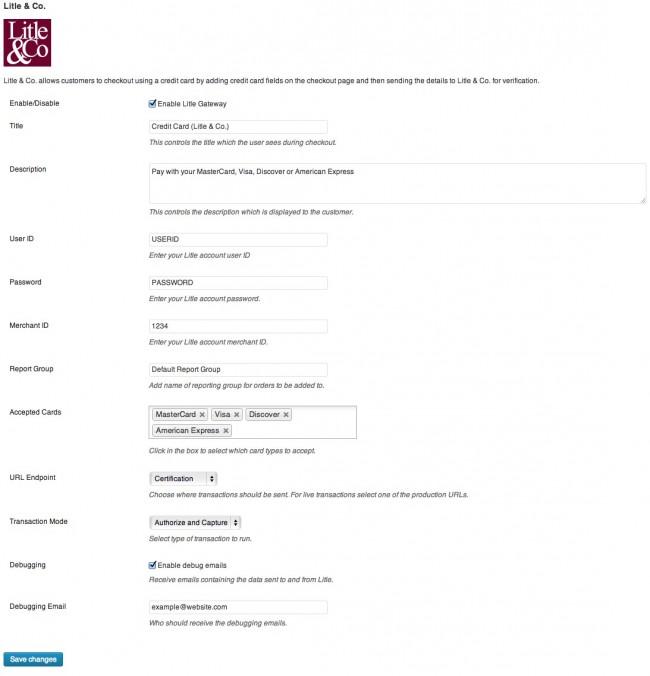 Litle&Co. settings screen.
