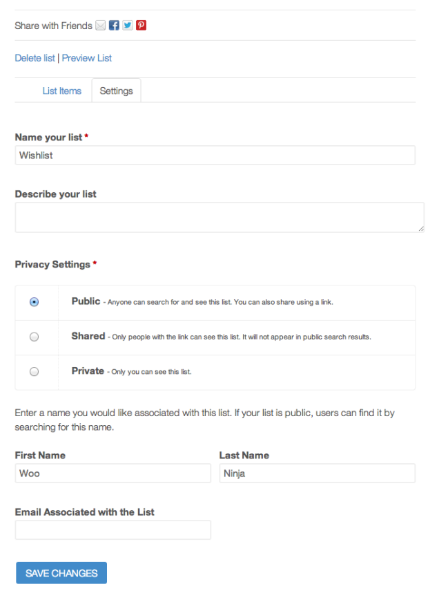 Front-end Wishlist Settings for your shop customers.