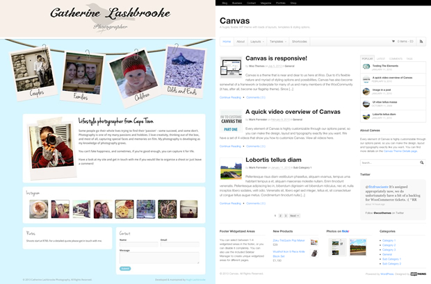 A comparison between the site's homepage and Canvas' default look