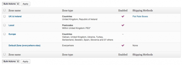 Create zones for multiple destinations and add box sizes + costs to each