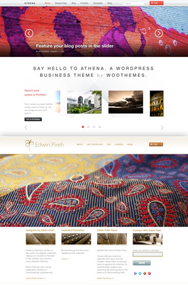 The Athena theme used for the Edwin Pireh website and Greg's customizations made.