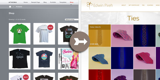 Shop page customizations made to the Athena theme.
