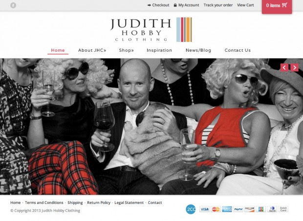 The Judith Hobby Clothing homepage.