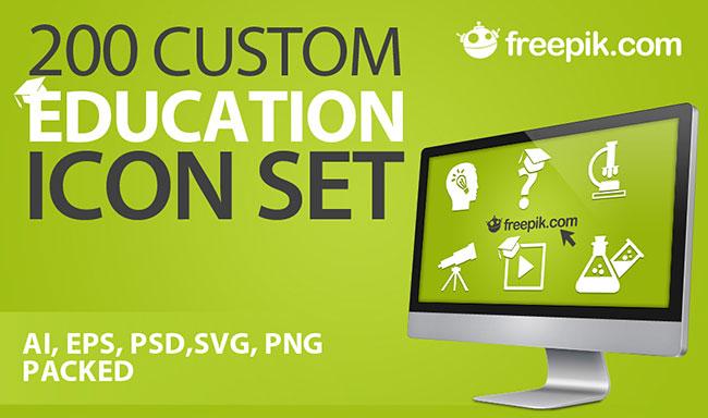 200-custom-education-icon-set