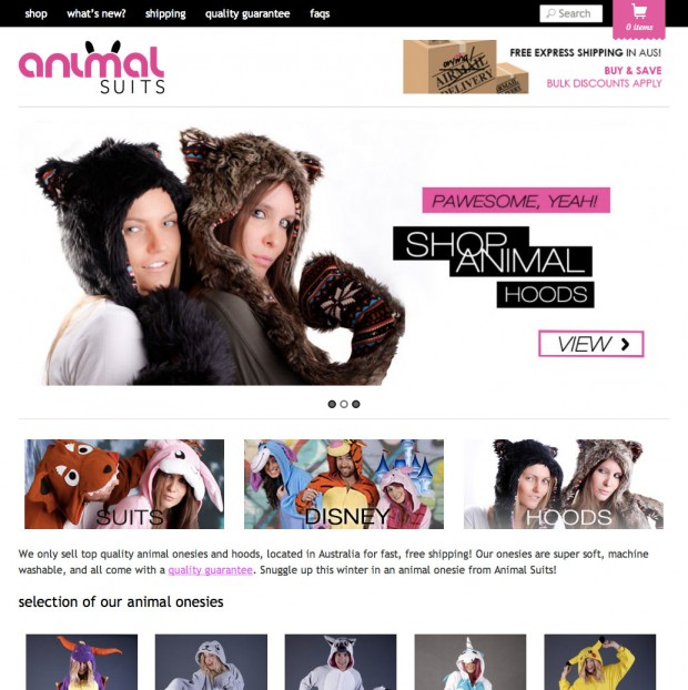 The Animal Suits homepage.