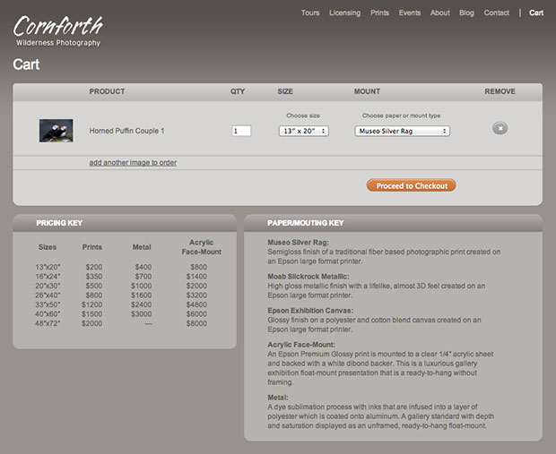 The customized cart page