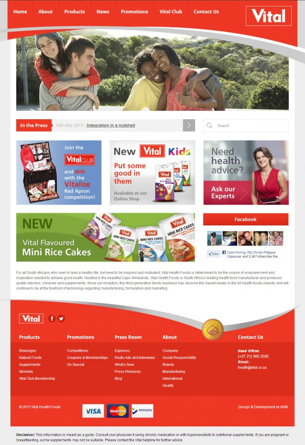 The new Vital homepage, courtest of kri8it.