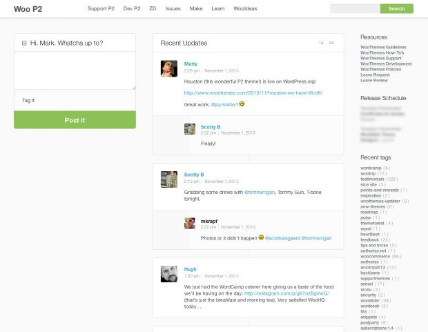 Houston in action on the WooThemes Internal P2 site.
