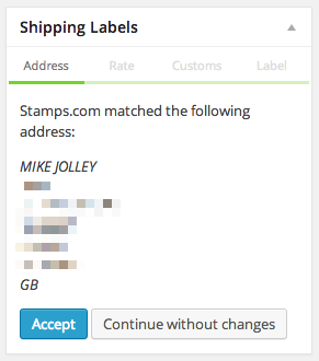 Stamps.com address verification in the admin meta box.