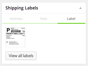 Stamps.com labels for the current order, when viewing an order within the WooCommerce admin.
