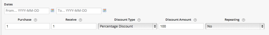 The configuration settings for BOGO in the Dynamic Pricing extension.